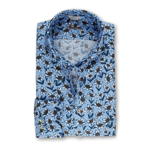 Light Blue Flower Patterned Fitted Body Shirt
