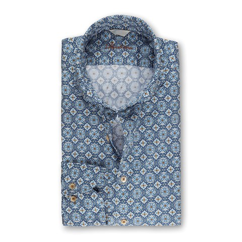Portuguese Tiles Casual Fitted Body Shirt