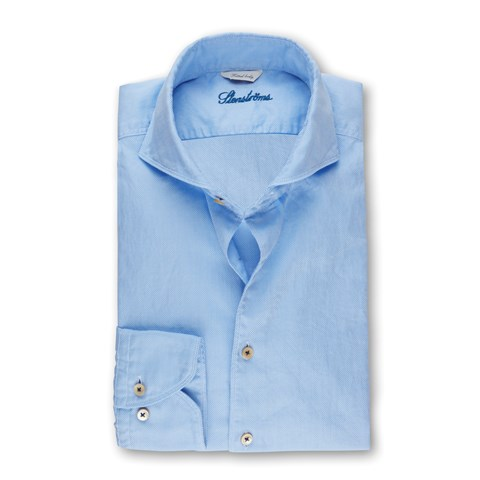 Light Blue Textured Casual Fitted Body Shirt