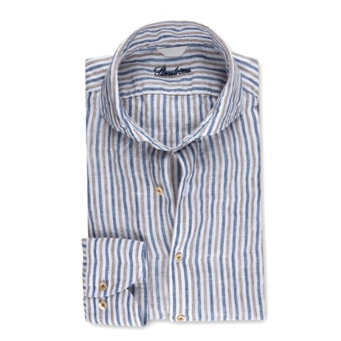 Striped Fitted Body Linen Shirt