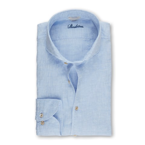 Light Blue Fitted Body Linen Shirt