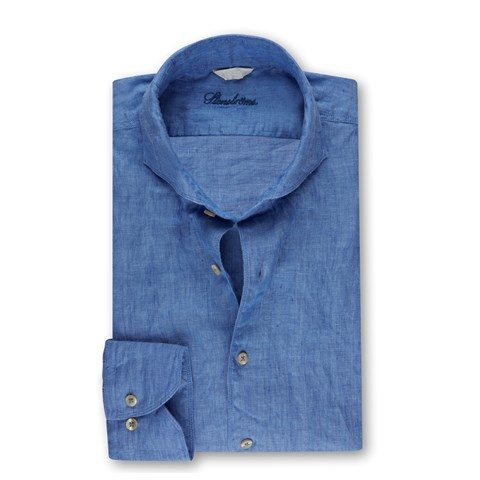 Fitted Body Linen Shirt Heaven Blue