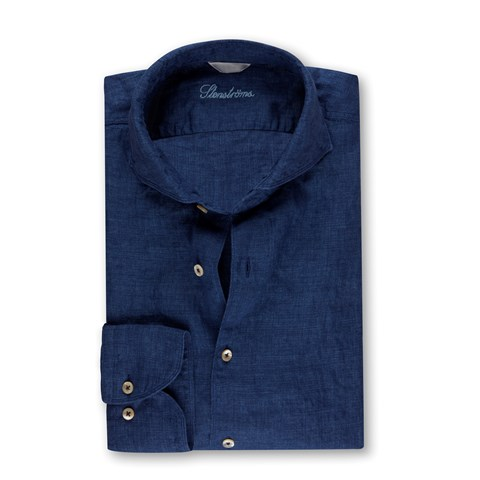 Fitted Body Linen Shirt Blue