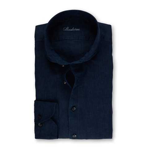 Navy Fitted Body Linen Shirt