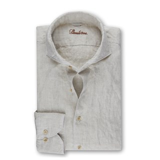 Fitted Body Linen Shirt Light Beige