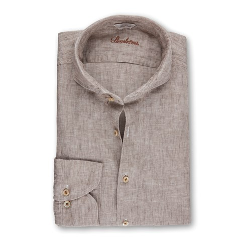 Beige Fitted Body Linen Shirt