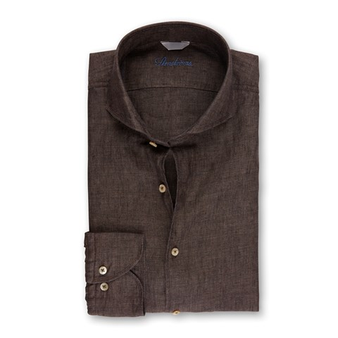 Fitted Body Linen Shirt Brown
