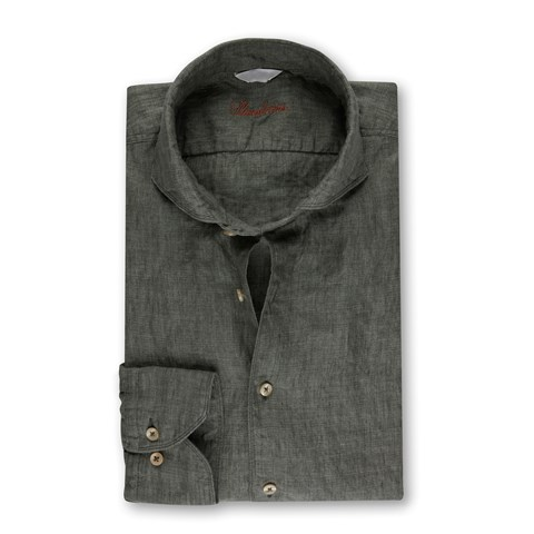 Fitted Body Linen Shirt Green