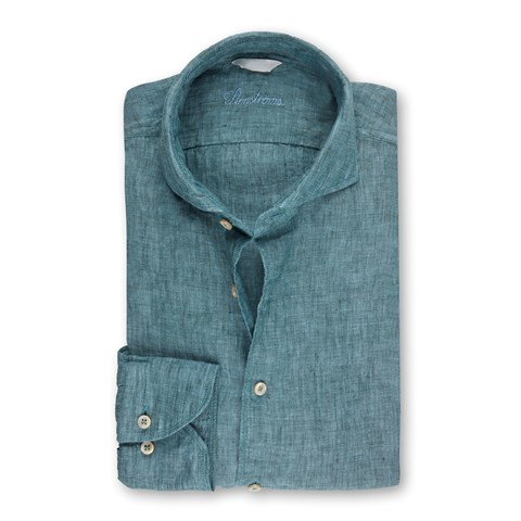 Pale Green Fitted Body Linen Shirt