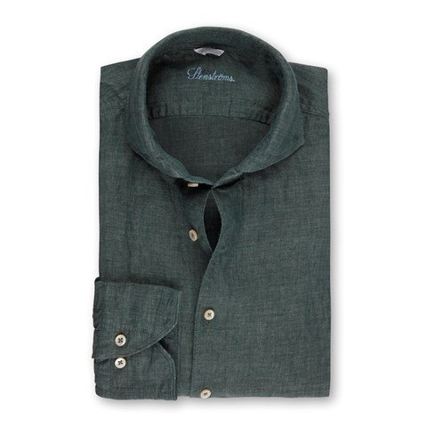 Green Fitted Body Linen Shirt
