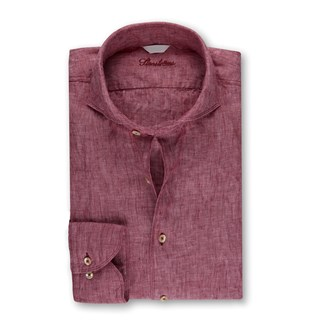 Fitted Body Linen Shirt Purple
