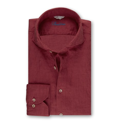 Dark Red Fitted Body Linen Shirt
