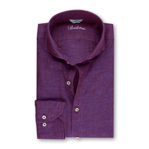 Purple Mélange Linen Fitted Body Shirt
