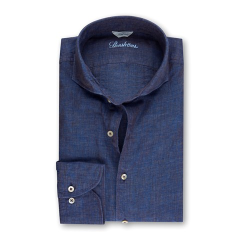 Navy Mélange Linen Fitted Body Shirt
