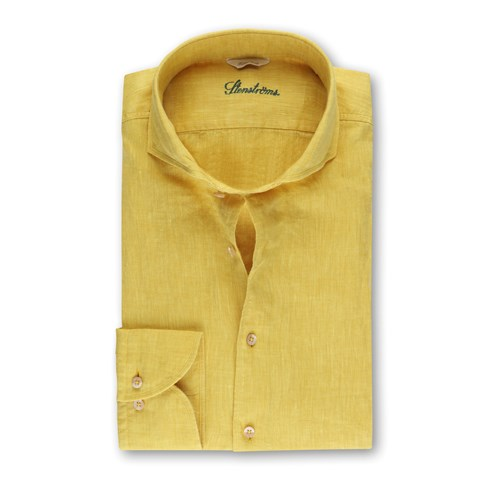 Fitted Body Linen Shirt Yellow
