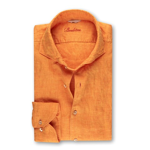 Fitted Body Linen Shirt Orange