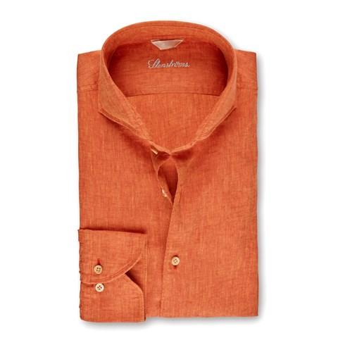 Orange Fitted Body Linen Shirt