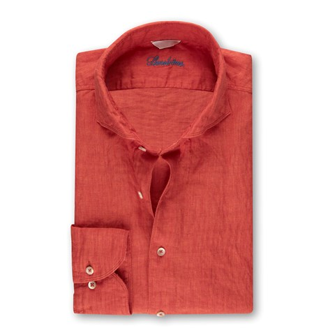 Fitted Body Linen Shirt Dark Orange