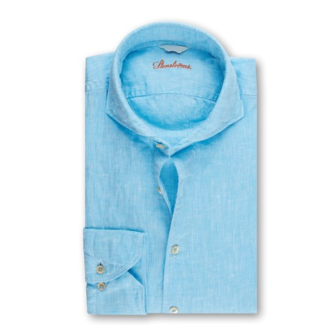 Blue Fitted Body Linen Shirt
