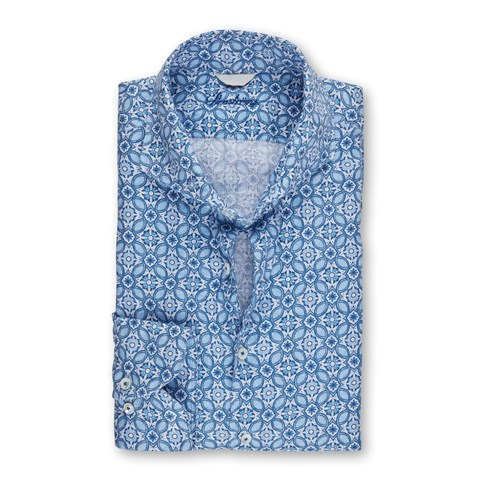 Sicilian Tiles Fitted Body Linen Shirt
