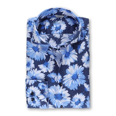 Floral Fitted Body Linen Shirt, Casual
