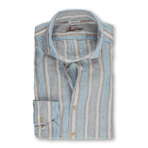 Striped Linen Fitted Body Shirt