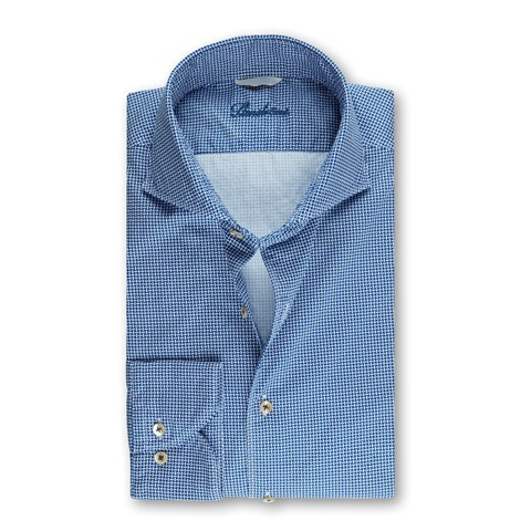Blue Patterned Fitted Body Shirt