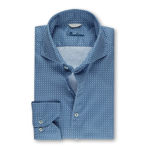 Blue Casual Patterned Fitted Body Shirt