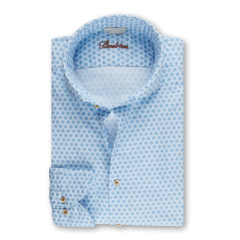 Casual Fitted Body Oxford Shirt Light Blue Pattern