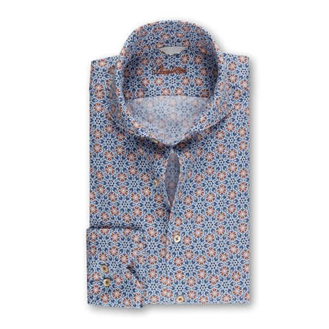 Fitted Body Linen Shirt Blue Kaleidoscope Pattern