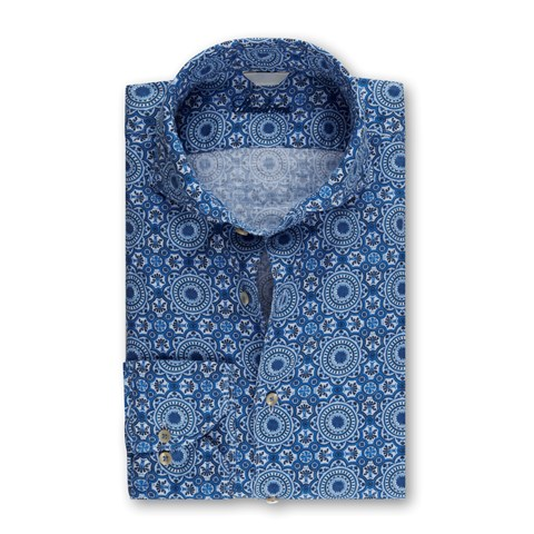 Geometric Flower Fitted Body Linen Shirt Blue