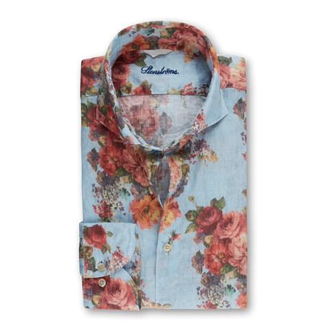 Floral Fitted Body Linen Shirt Casual