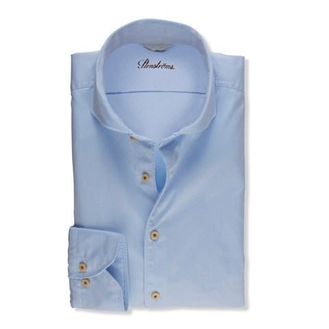 Blue Casual Fitted Body Shirt, Extra Long Sleeves