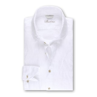 Fitted Body Linen Shirt White, XL-sleeves