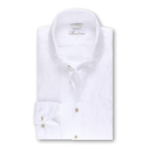 White Fitted Body Linen Shirt, XL-sleeves