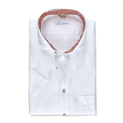 White Linen Contrast Fitted Body Shirt, Short Sleeves