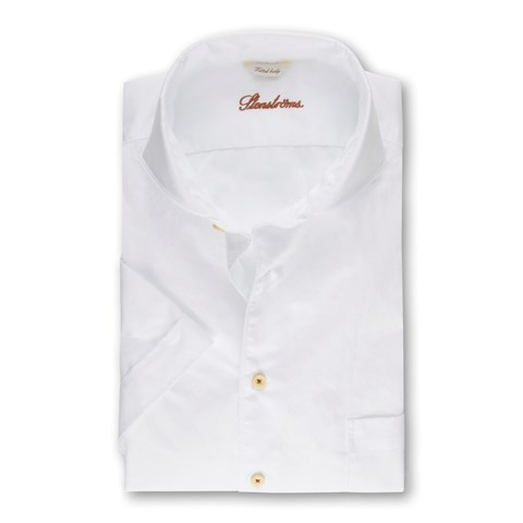 White Casual Fitted Body Shirt, Short Sleeves