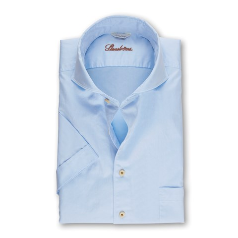 Light Blue Casual Fitted Body Shirt, Short Sleeves