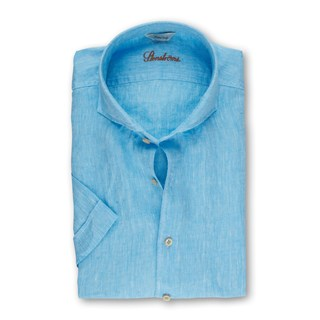 Turquoise Fitted Body Shirt, Short Sleeve
