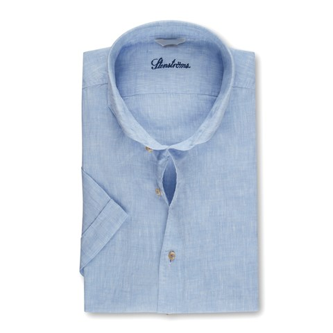 Blue Fitted Body Linen Shirt, Short Sleeves
