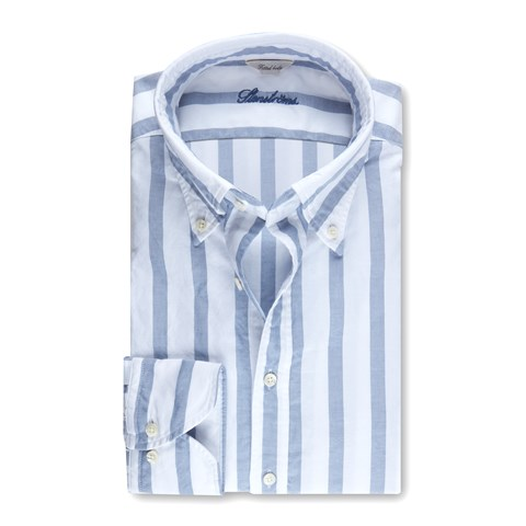 Fitted Body Casual Oxford Shirt Block Striped Blue