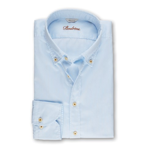 Light Blue Striped Casual Fitted Body Shirt