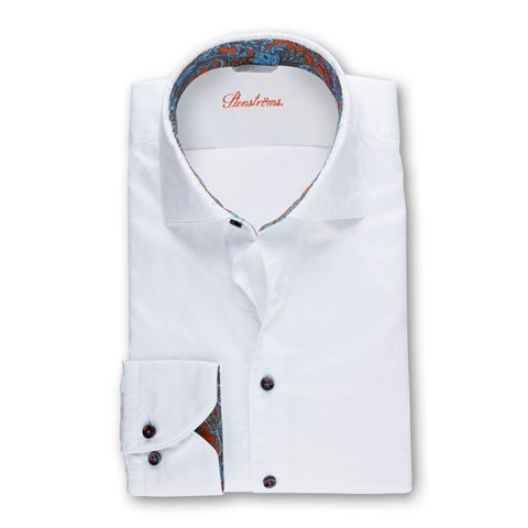 White Fitted Body Shirt With Contrast Collar