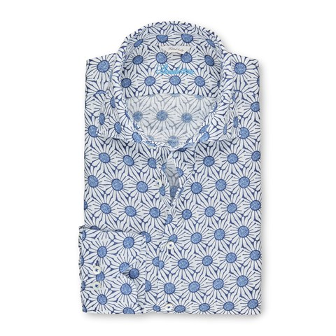 Flower Patterned Linen Fitted Body Shirt