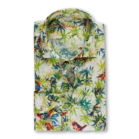 Birds & Leaves Linen Fitted Body Shirt