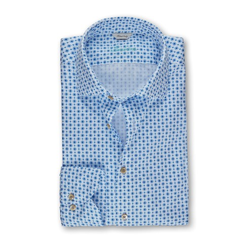 Light Blue Medallion Patterned Fitted Body Shirt