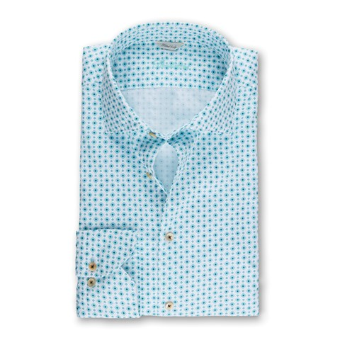 Turquoise Medallion Patterned Fitted Body Shirt
