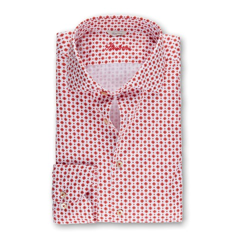 Red Medallion Patterned Fitted Body Shirt