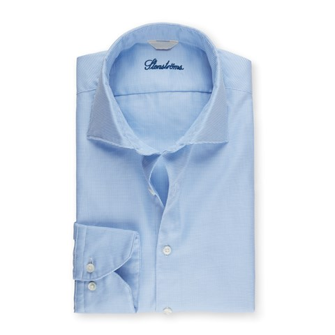 Light Blue Hounds Tooth Fitted Body Shirt, Extra Long Sleeves