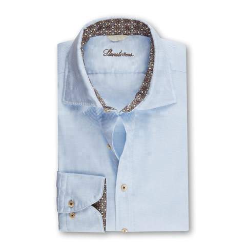 Light Blue Casual Fitted Body Shirt w Contrast
